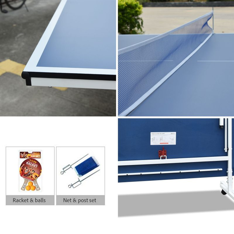 Double Happiness Indoor Rollaway 130 Table Tennis Ping Pong Table with Free Accessories Package