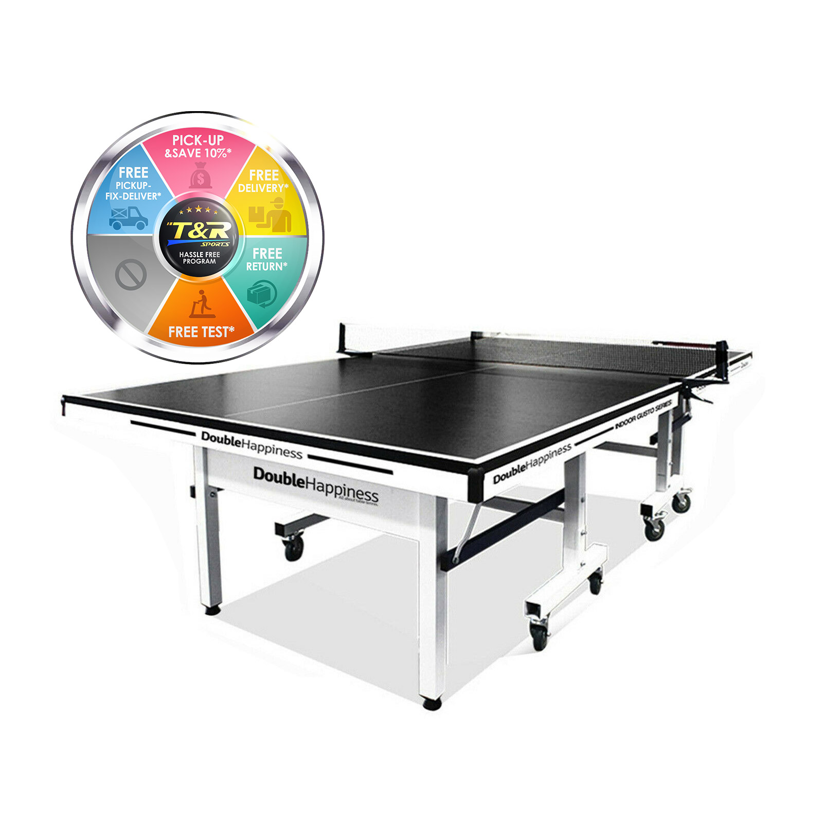 Double Happiness Indoor Premium 190 Table Tennis Ping Pong Table Black Top with Free Accessories Package