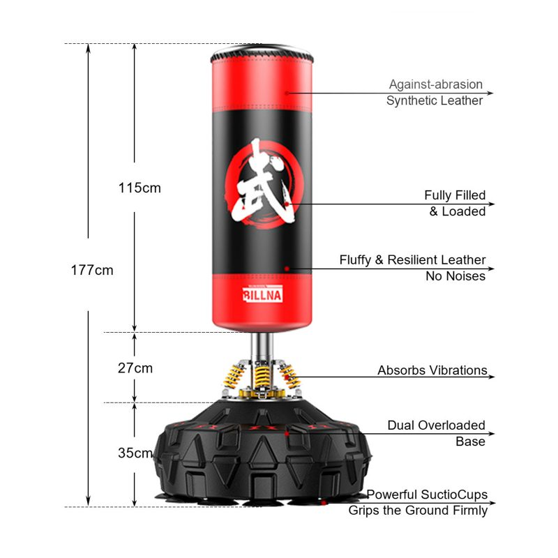 180cm Standing Heavy Punching Boxing Bag Gym Home Dummy Kick - Red