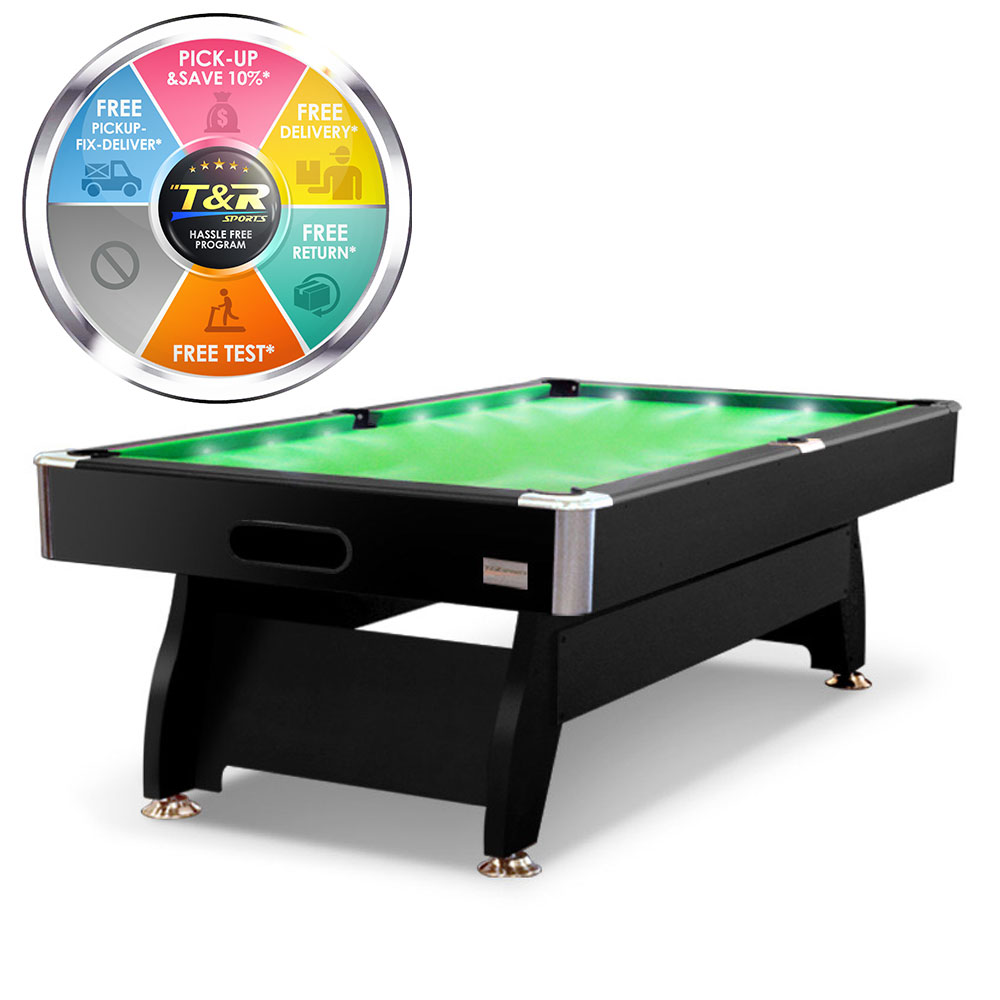 Mace 7FT Black Frame Green Felt LED MDF Billiard Pool Table with Full Accessories Package