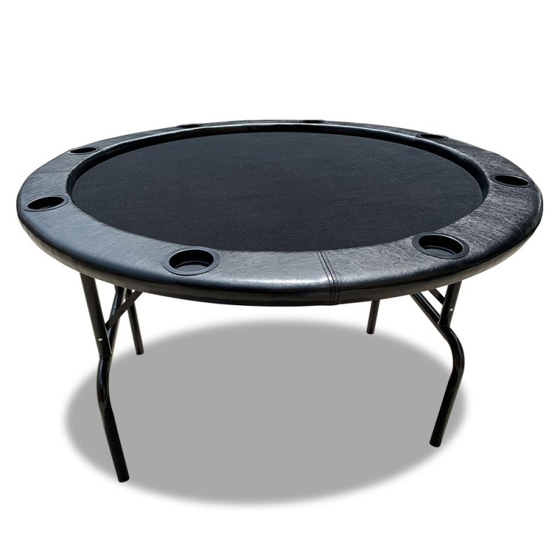 PK002 4' MDF Round Foldable Poker Table 8 Players Folding Black Gaming Game Room