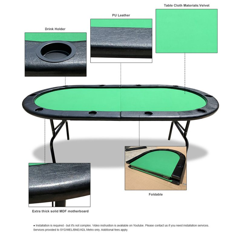 PK001 7' MDF Foldable Poker Table 10 Players Folding Green Gaming Game Room