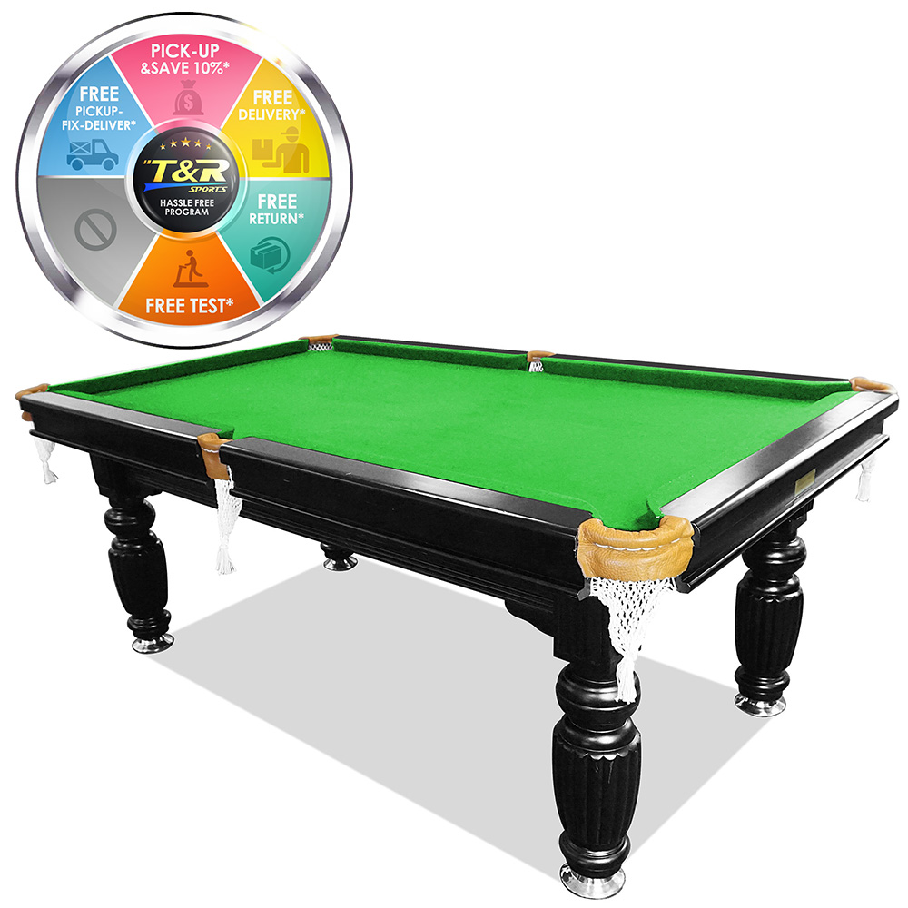 MACE 7FT Black Frame Green Felt Slate Billiard Pool Table with Full Accessories Package