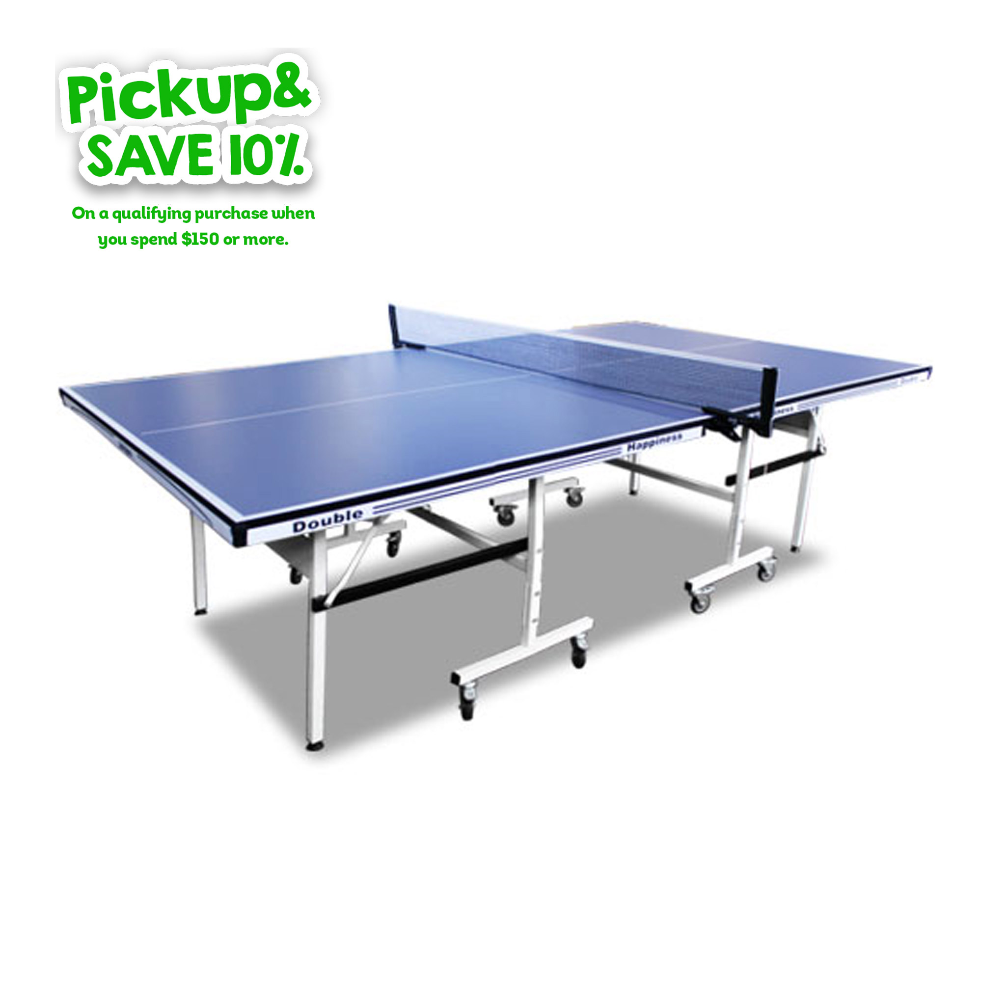 Double Happiness Indoor Premium 190 Table Tennis Ping Pong Table Blue Top with Free Accessories Package