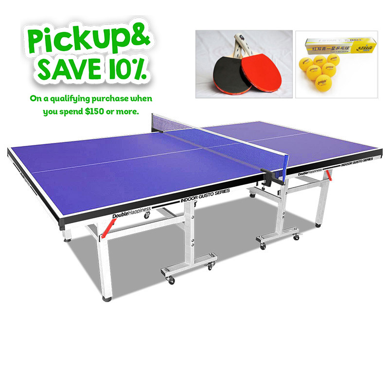 Double Happiness Indoor Premium 190 Table Tennis Ping Pong Table Blue Top with Upgraded Accessories Package