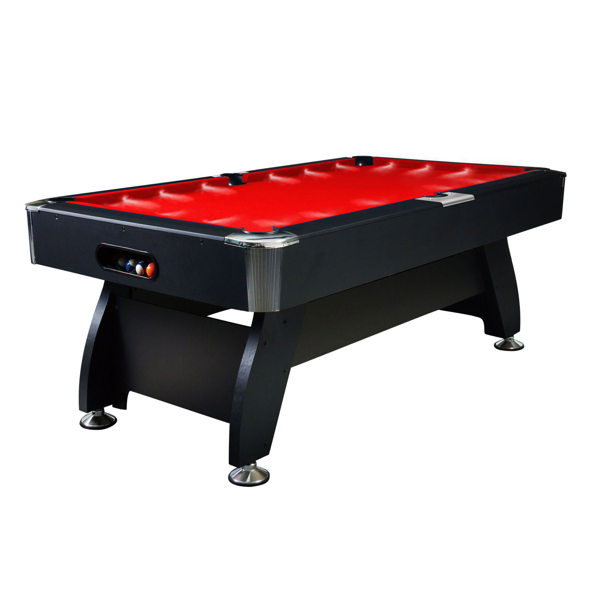 8FT RED TIMBER MDF POOL SNOOKER BILLIARD TABLE LED