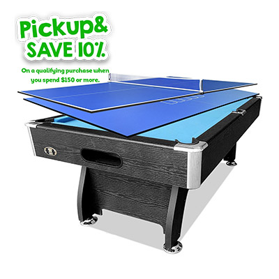 7FT Black Blue MDF Pool Table + 2-piece Poker/Table Tennis Top
