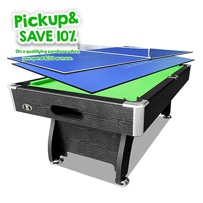 7FT Black Green Pool/Billiard Table + 2-piece Poker/Table Tennis Top