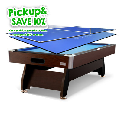 7FT Walnut Blue Pool/Billiard Table + 2-piece Poker/Table Tennis