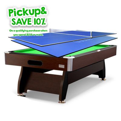 7FT Walnut Green Pool/Snooker Table + 2-piece Poker/Table Tennis Top