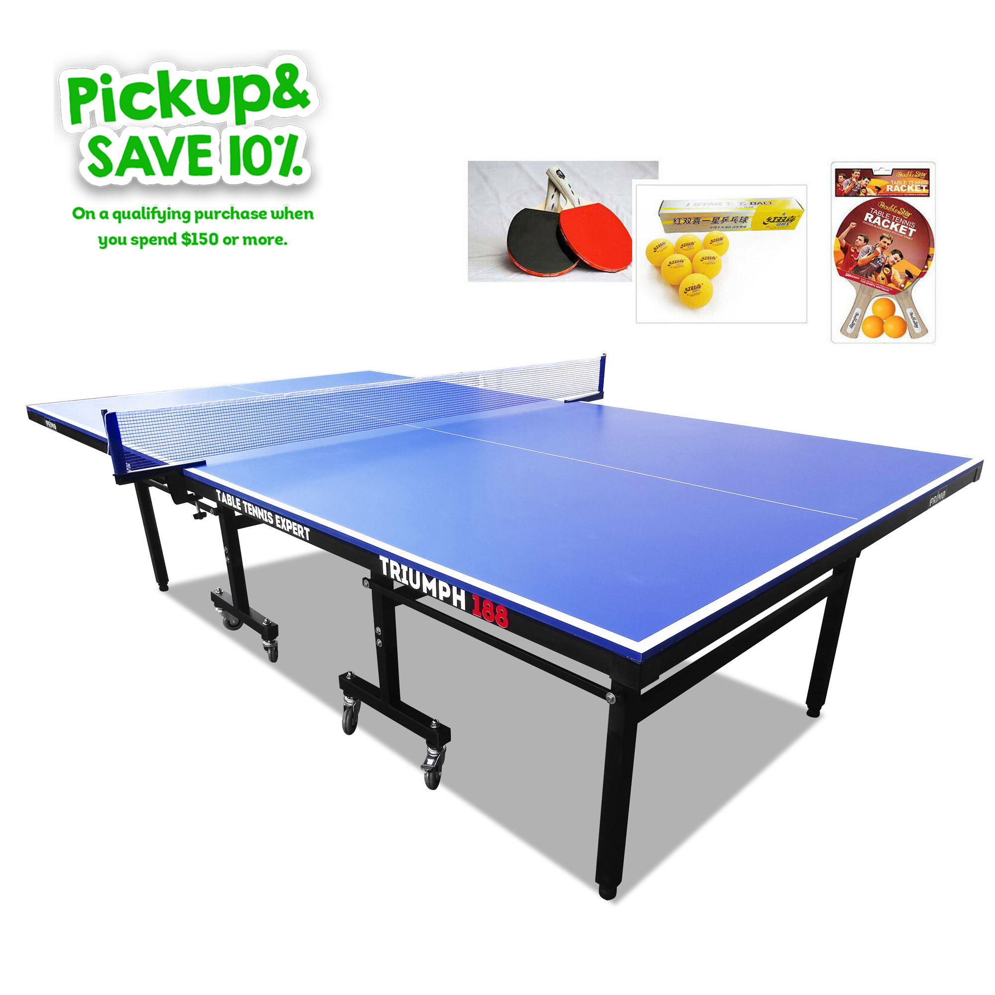 PRIMO Triumph 188 Pro Size Outdoor Table Tennis Ping Pong Table with Upgraded Accessory Package