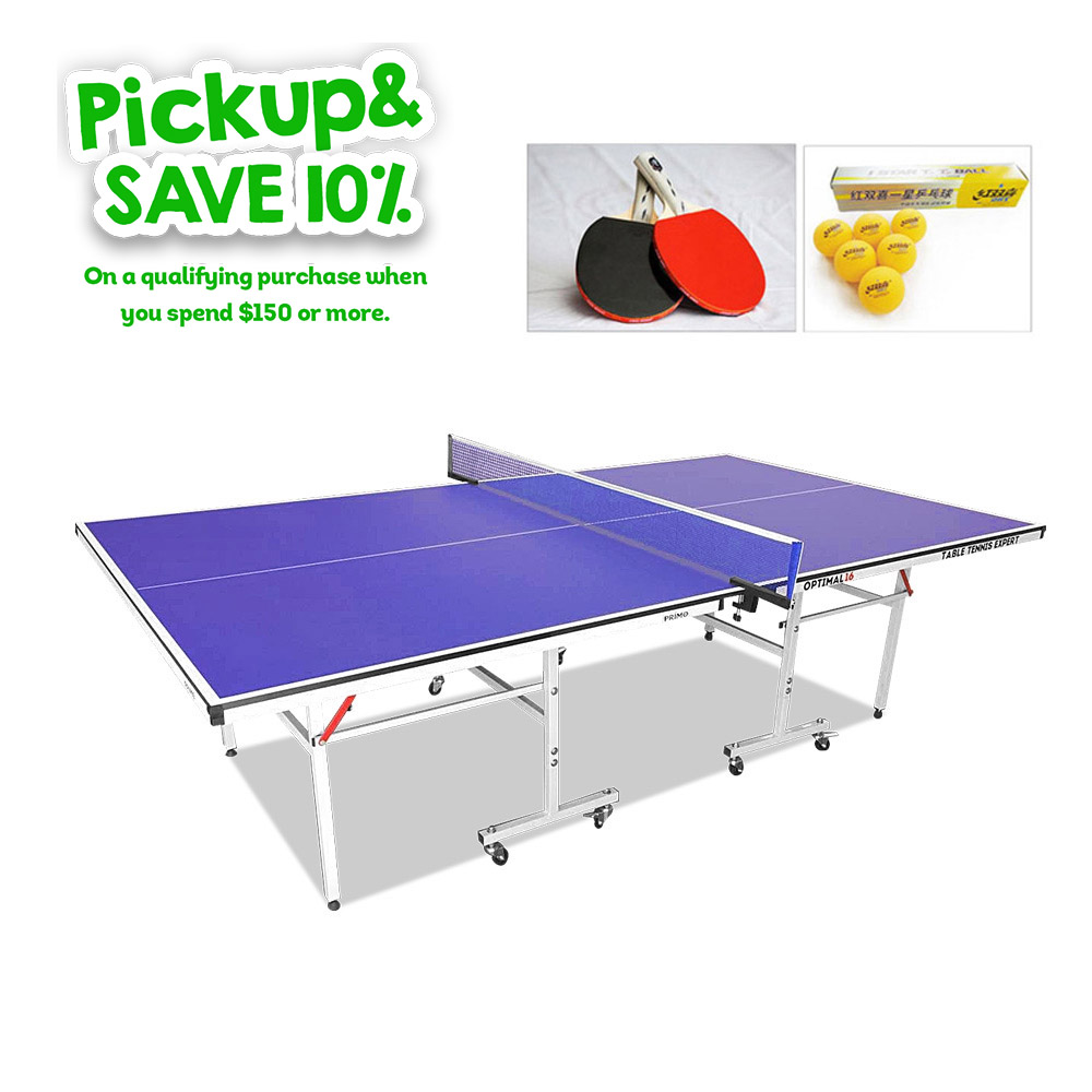 Primo Indoor Optimal 19mm Table Tennis Ping Pong Table with Upgraded Accessories Package