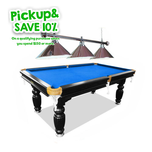 game room pool table with light