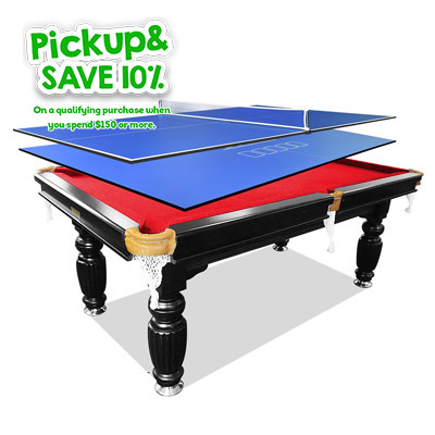 7FT Red Slate Billiards Table + 2Pcs Table Tennis/Poker Top