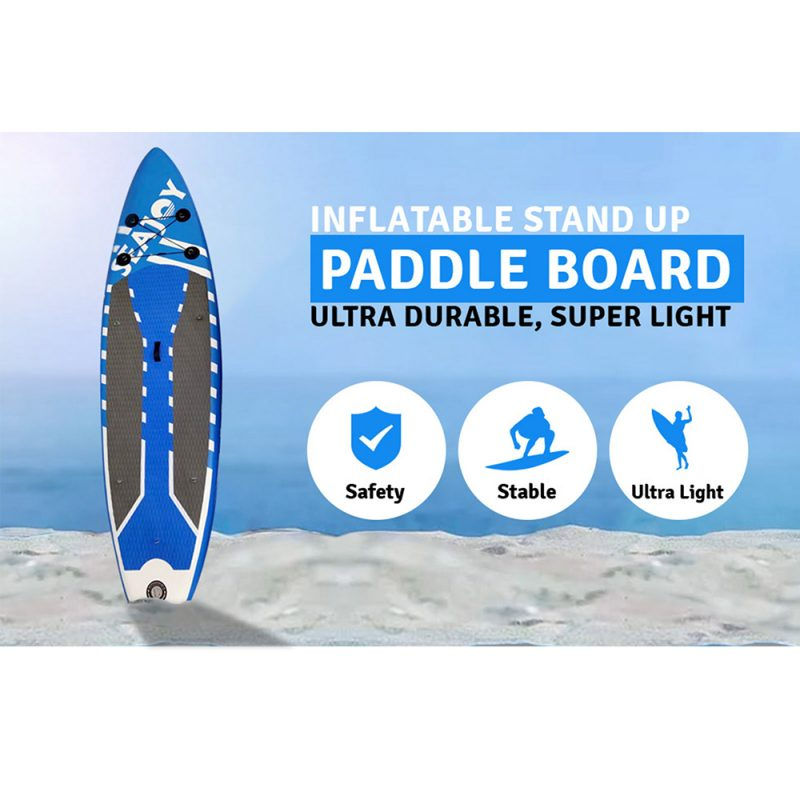 Rainbow Inflatable Stand Up Paddle Board with SUP Accessories & Carry Bag Blue