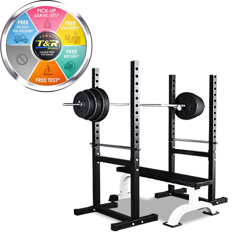 JMQ Fitness RBT303 Flat Bench & Squat Rack Set