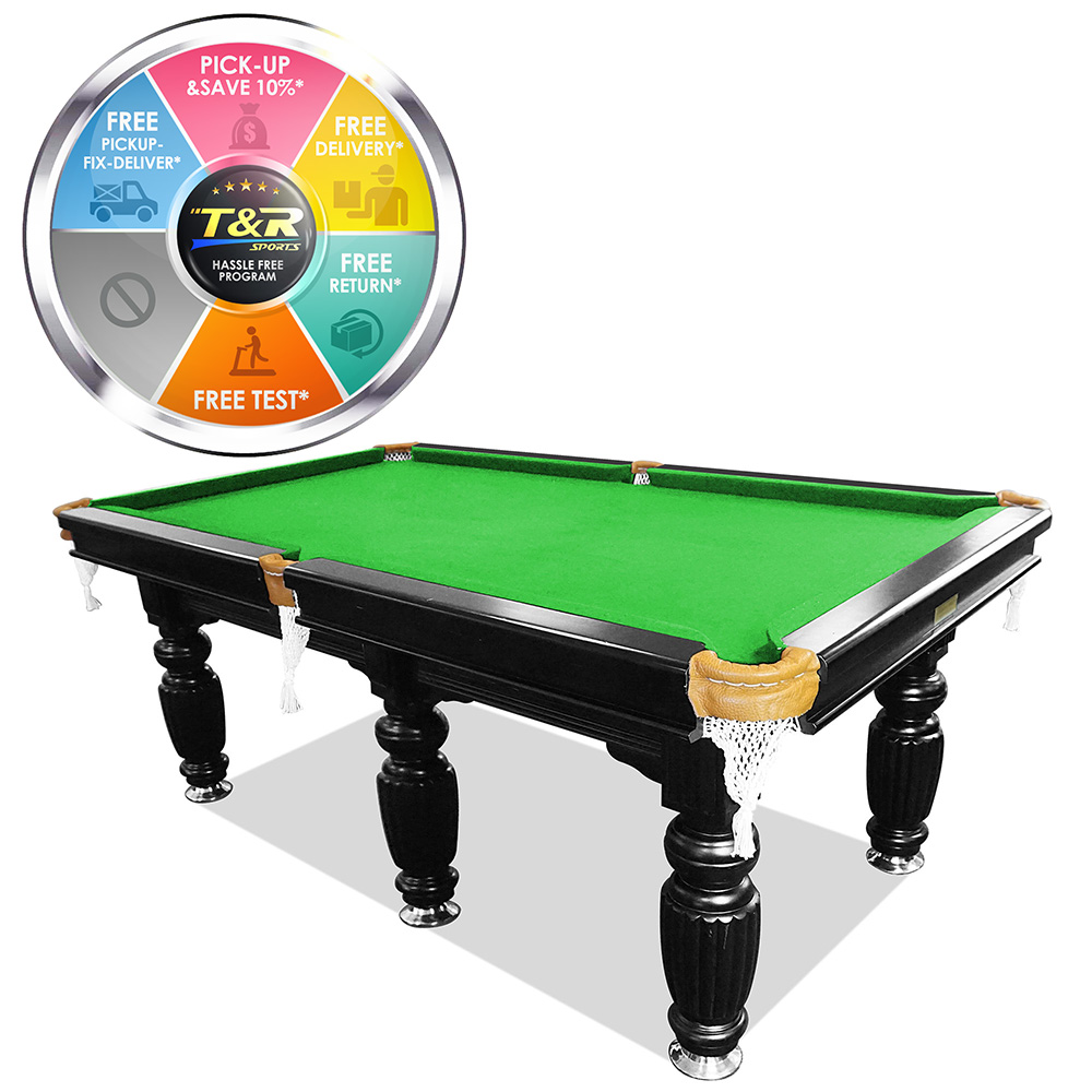 Mace 9FT Black Frame Green Felt Slate Billiard Pool Table with Accessories Package