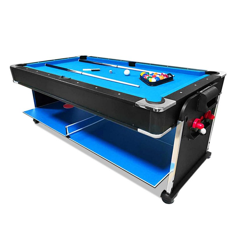 7Ft 3-In-1 Convertible Air Hockey / Pool Billiards / Table Tennis Table Blue Felt For Billiard Gaming Room Free Accessory