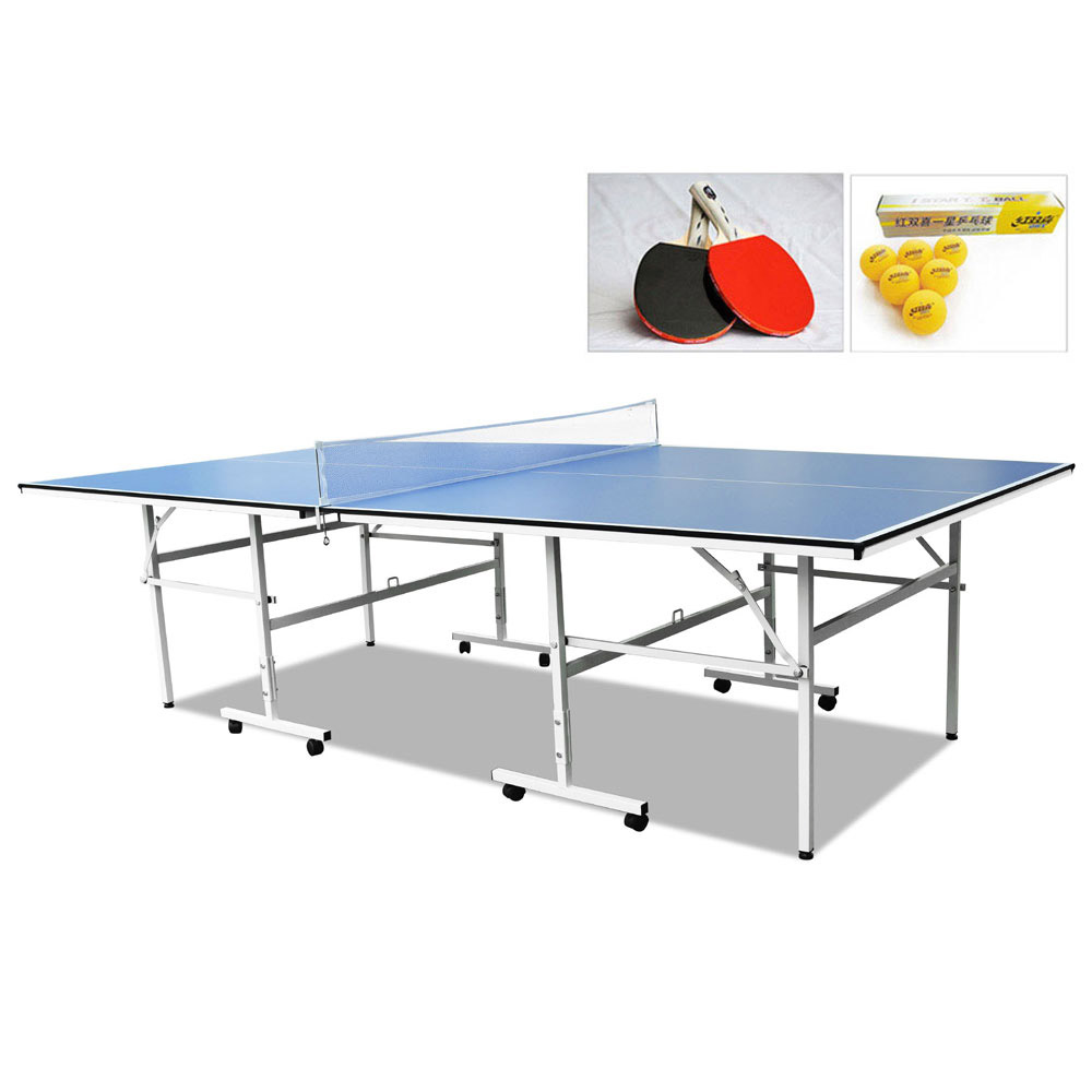 Double Happiness Indoor Rollaway 130 Table Tennis Ping Pong Table with Upgraded Accessories Package
