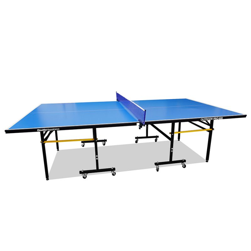 Double Happiness Outdoor Pro 600 Table Tennis Ping Pong Table with Free Accessories Package