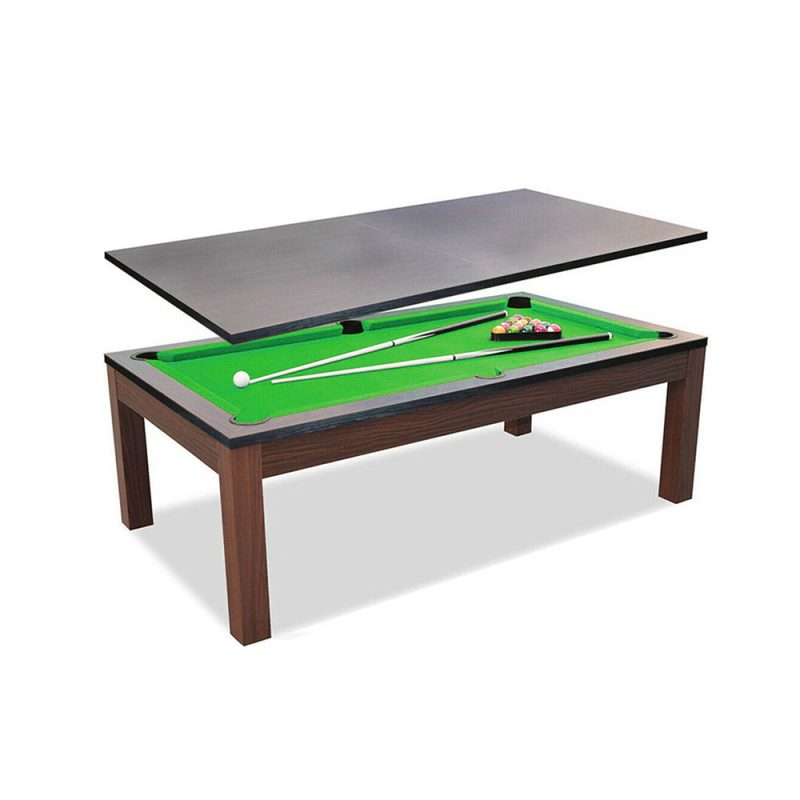 7Ft Elegance Dining Pool Table Walnut Frame with Top Free Accessories
