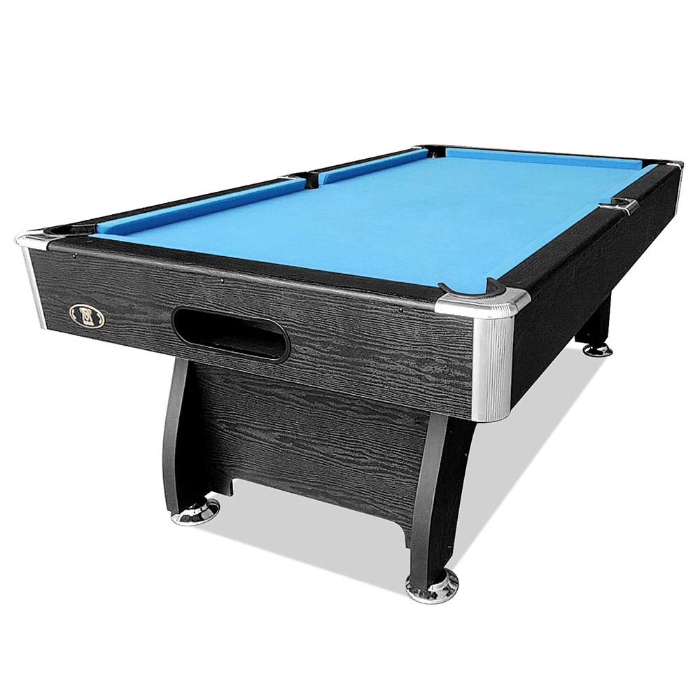 Mace 8FT Black Frame Blue Felt MDF Billiard Pool Table
