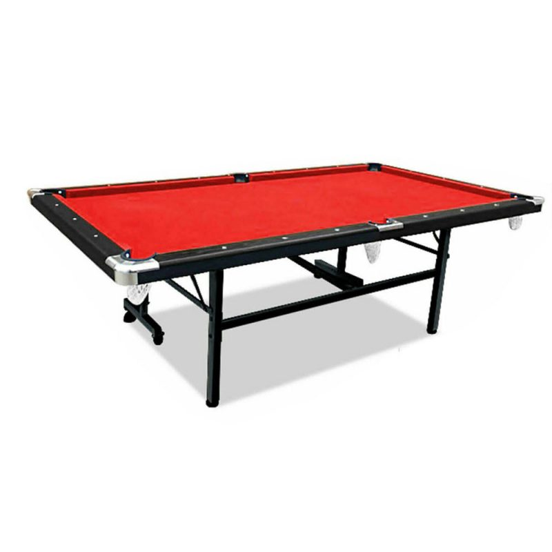 8FT Foldable Pool Table Red Felt Billiard Table Free Accessory for Small Room