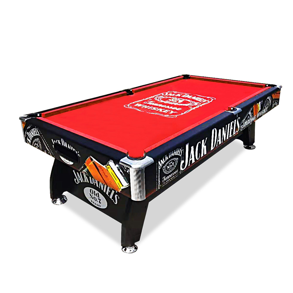 7FT MDF Black / Red Pool Snooker Billiards Table Free Accessory